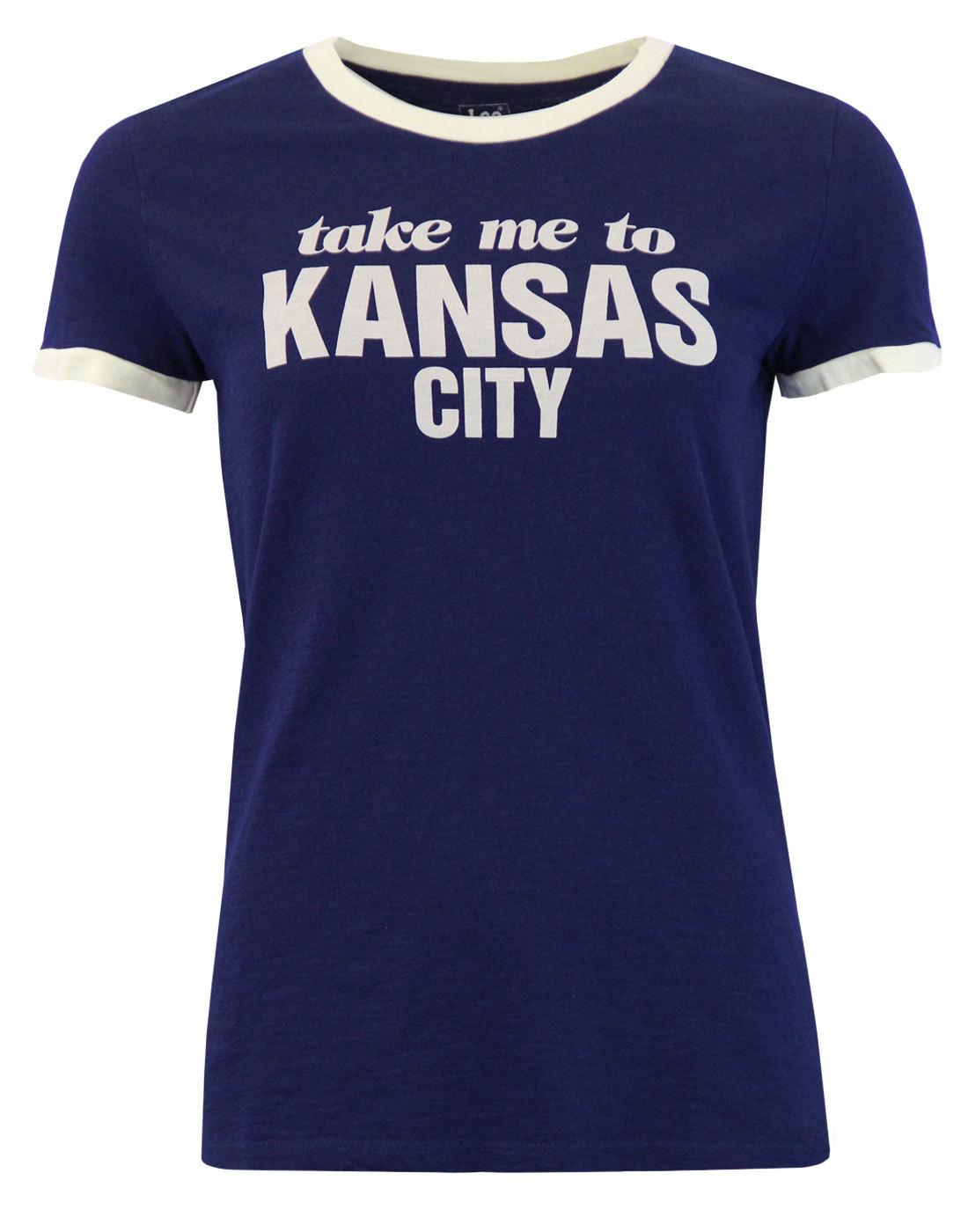 Kansas City LEE Retro 70s Vintage Ringer Tee BLUE