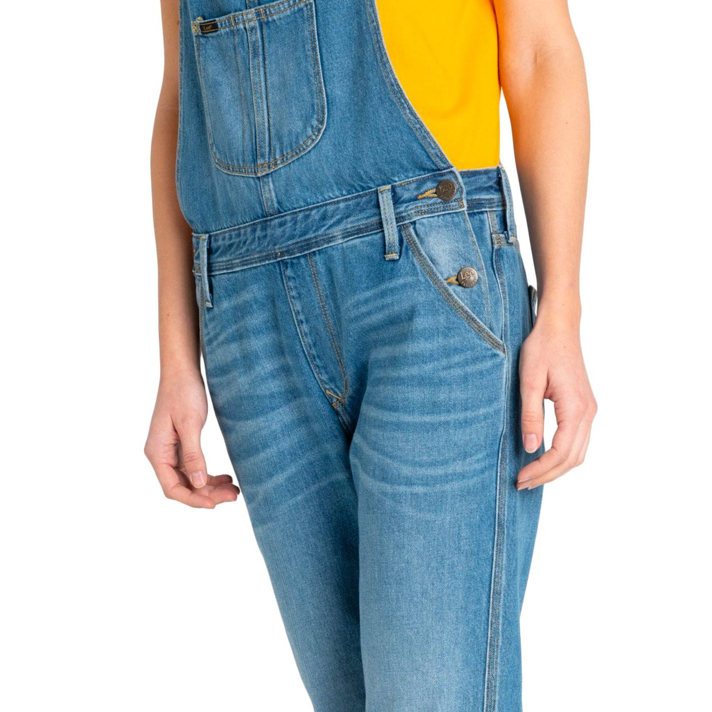 a3433bac LEE Women's Retro 1970s Relaxed Bib Dungarees in Flick Mid