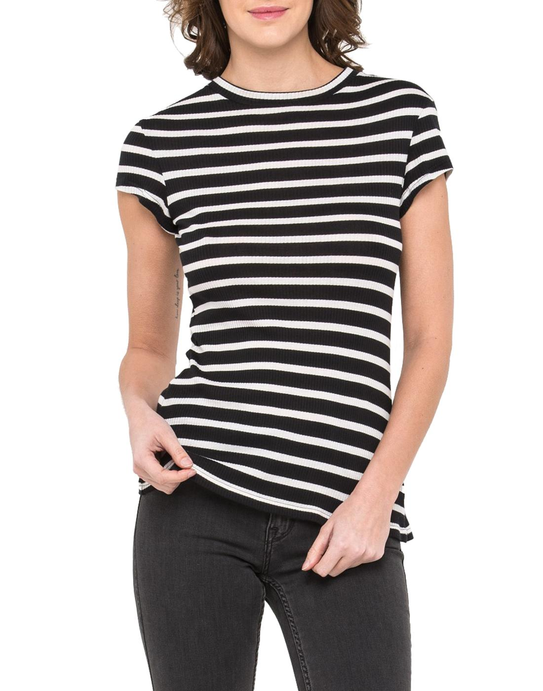 LEE JEANS Womens Retro 70s Ribbed Striped Top