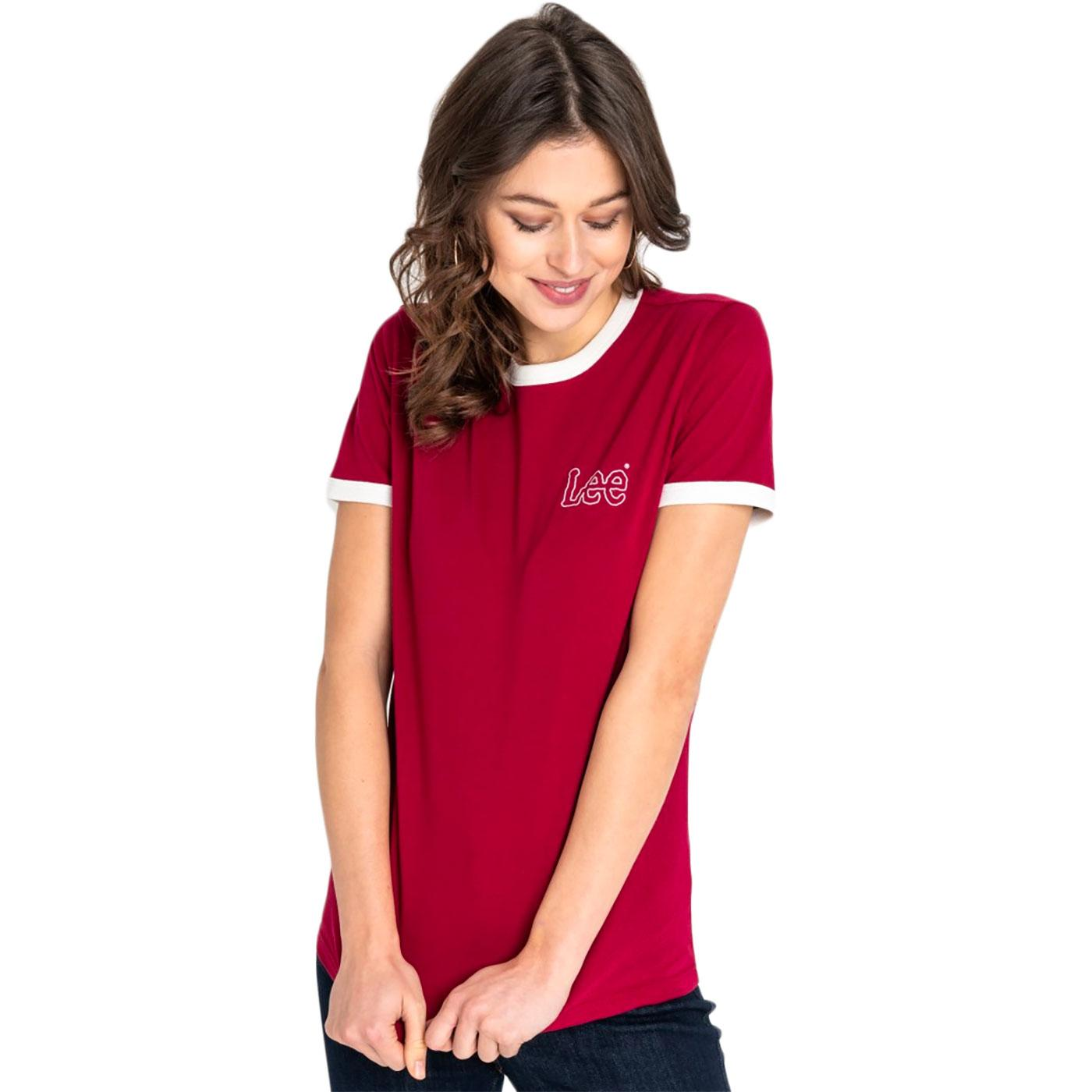 LEE JEANS Women's Retro 70s Ringer Tee (Faded Red)