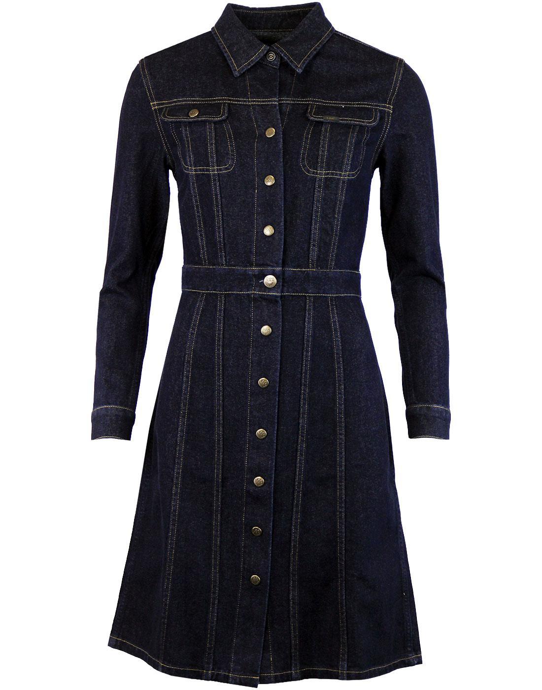LEE Retro 70s Collared Indigo Rinse Denim Dress