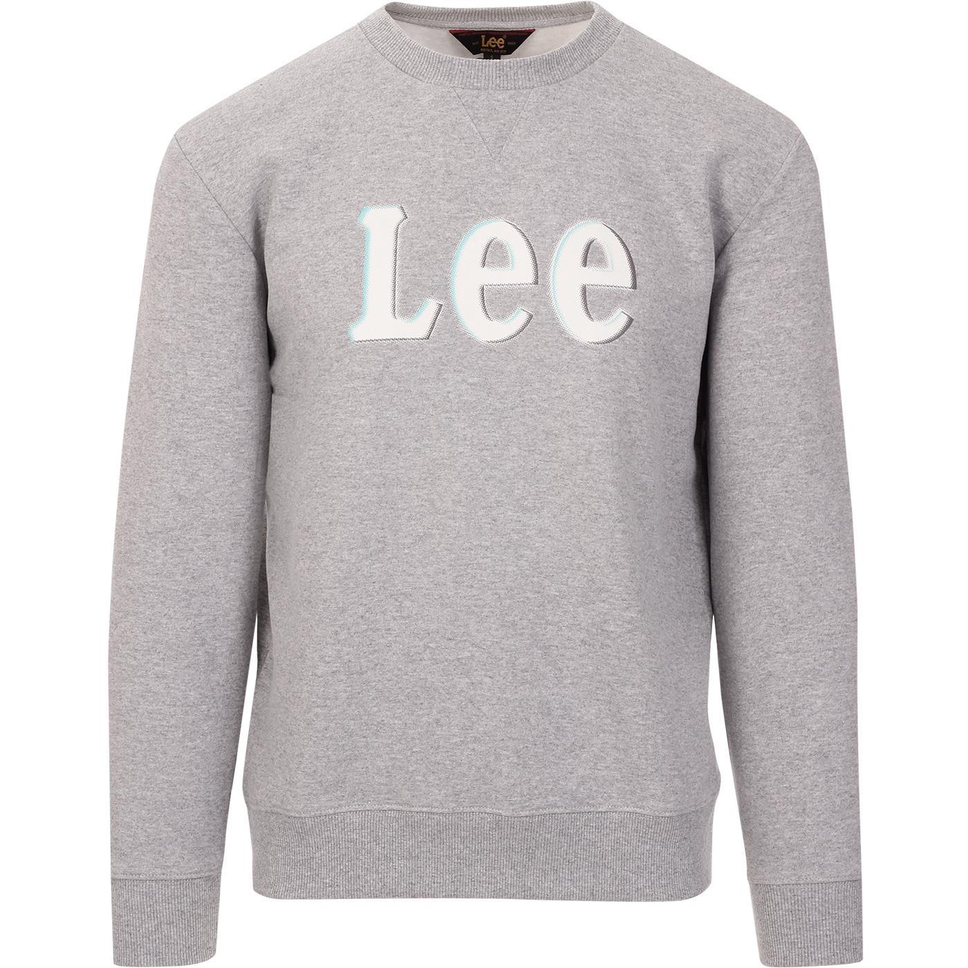 LEE JEANS Retro Crewneck Logo Sweatshirt in Grey