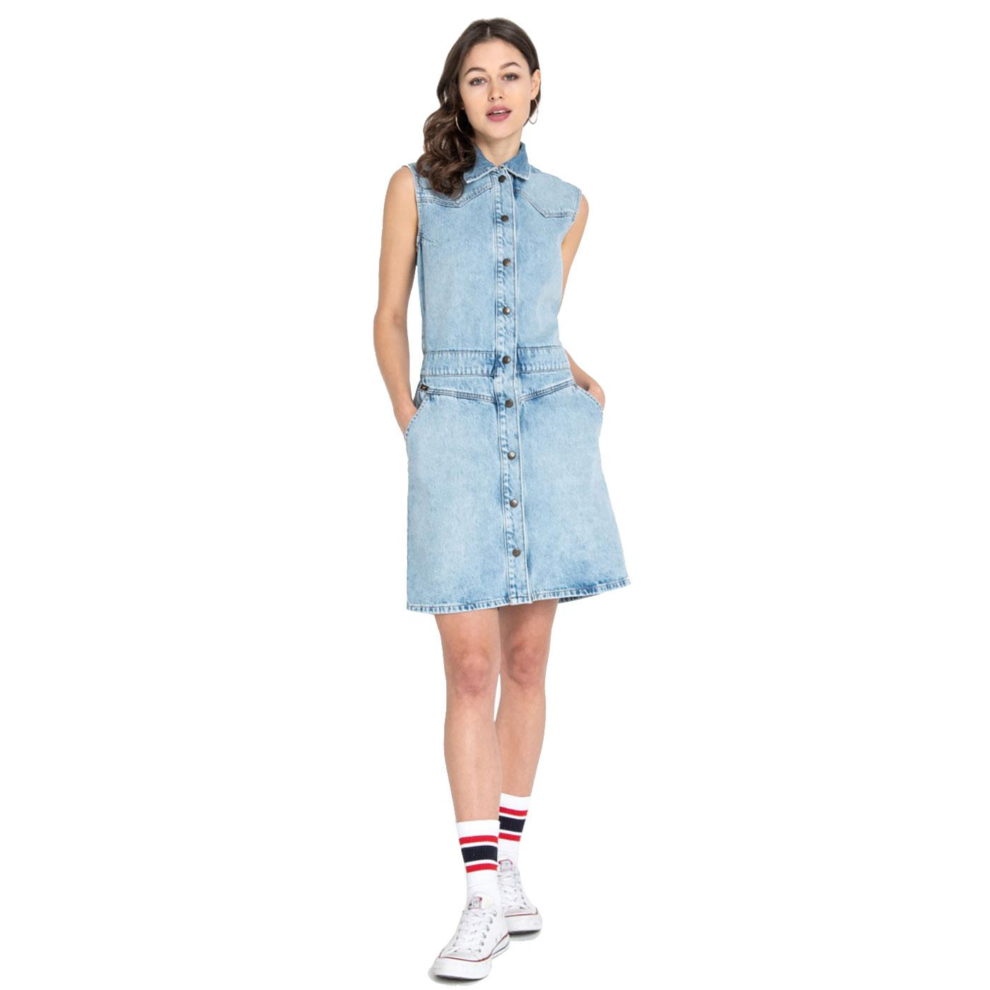 LEE Retro 70s Button Up Denim Mom Dress GET LIGHT