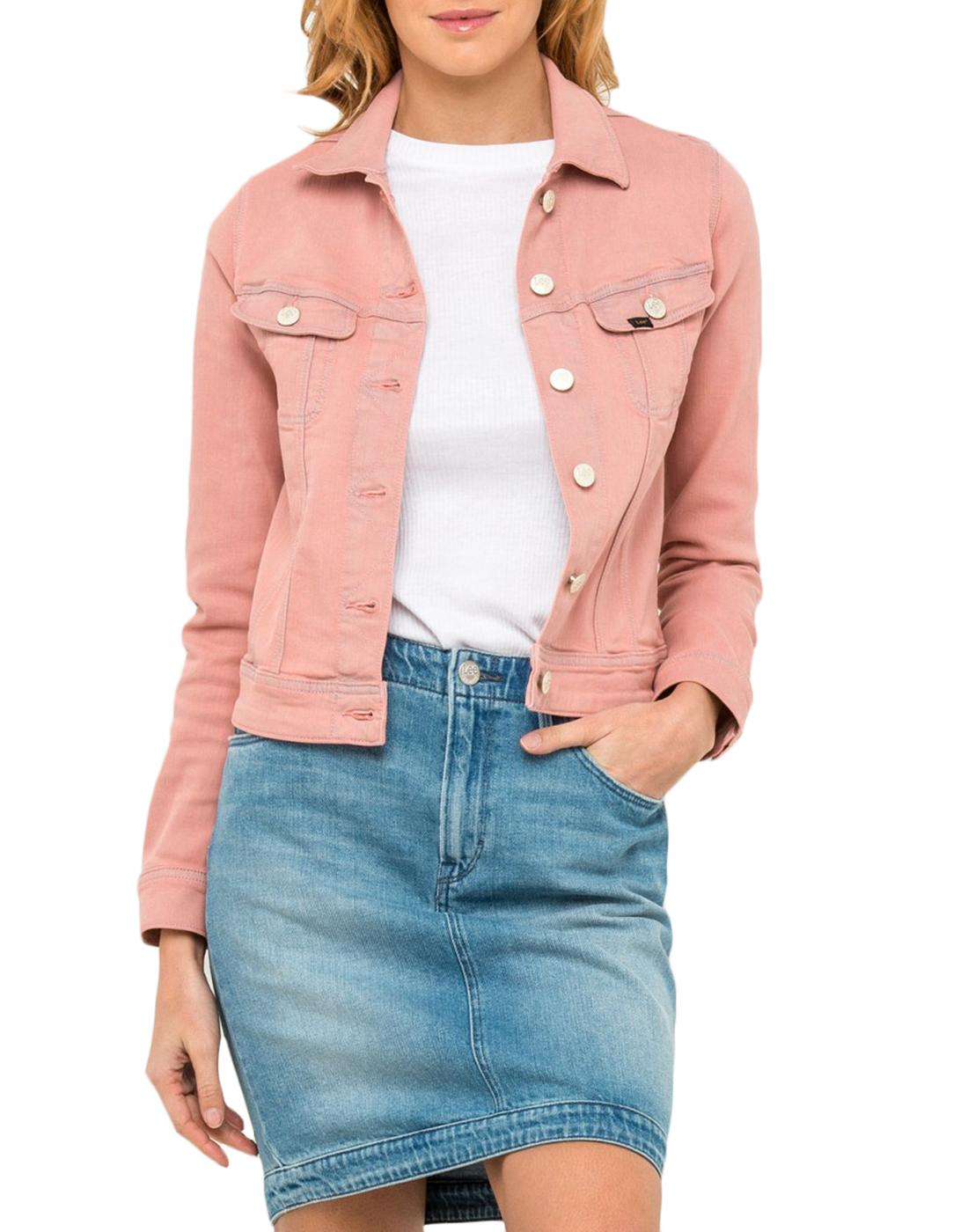 Rider LEE JEANS Womens Retro 70s Denim Jacket Pink