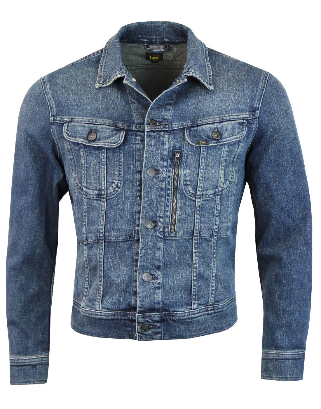 LEE Zip Rider Retro Mod Denim Jacket STRUMMER BLUE