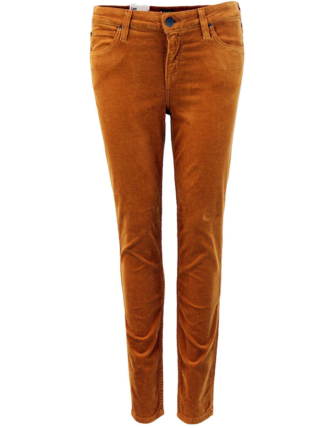 Scarlett LEE Retro Womens Cord Skinny Jeans Cognac