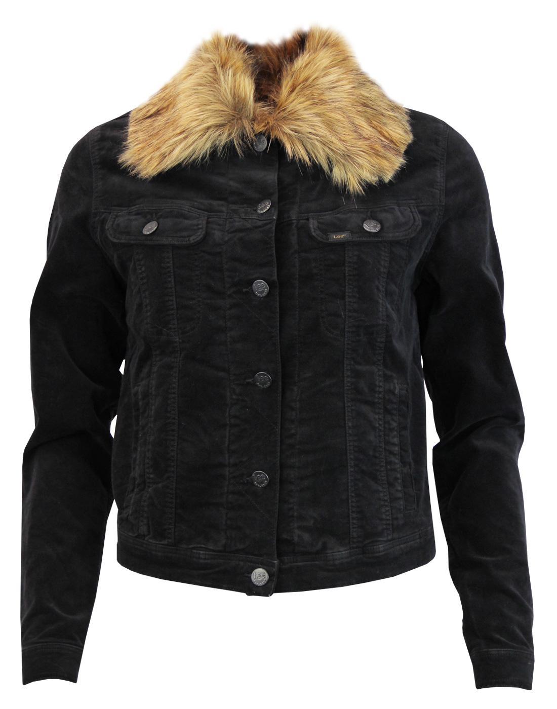 LEE Women's Faux Fur Collar Velvet Rider Jacket