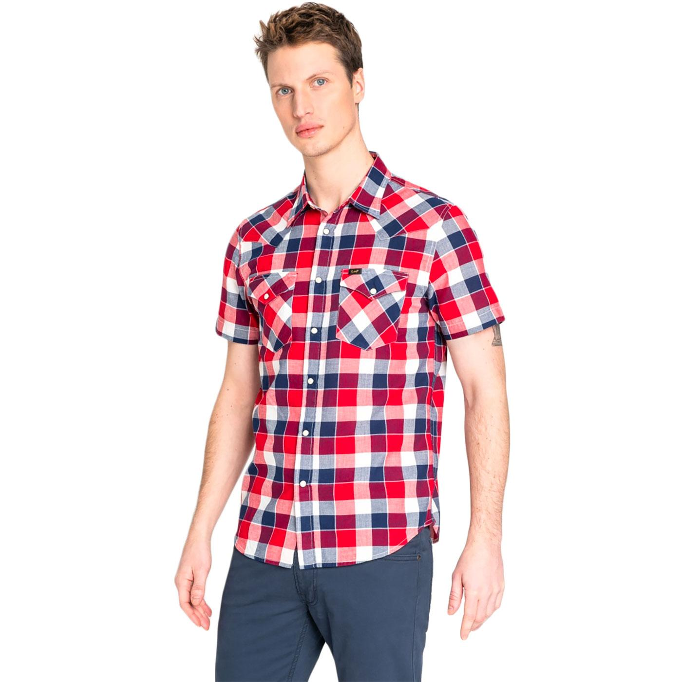 LEE Retro Mod SS Check Western Shirt (Bright Red)