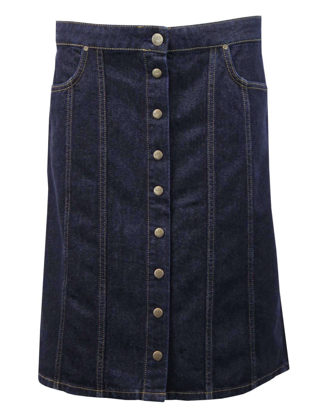LEE Retro 70s Button Through Denim Midi Skirt (IR)