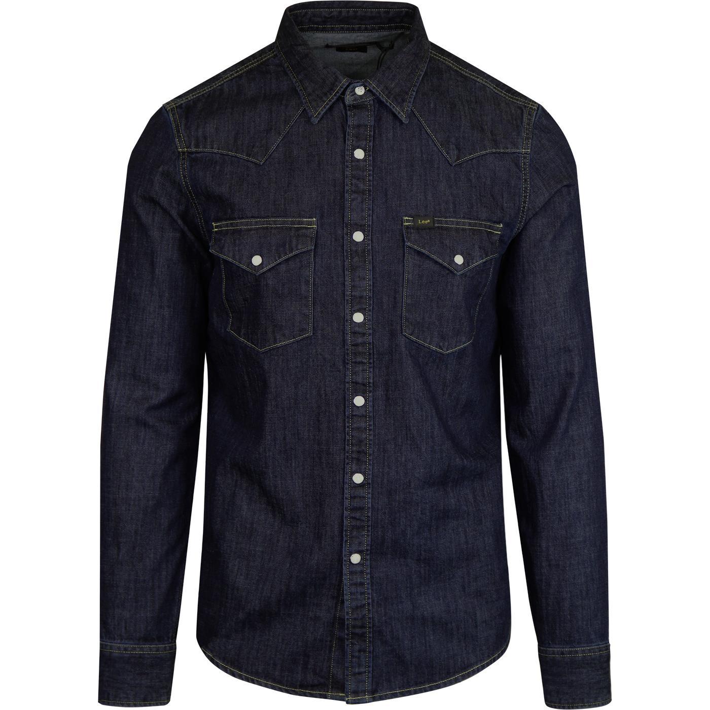 78d51950453 LEE Men's Retro 1970s Mod Denim Western Shirt in Blueprint