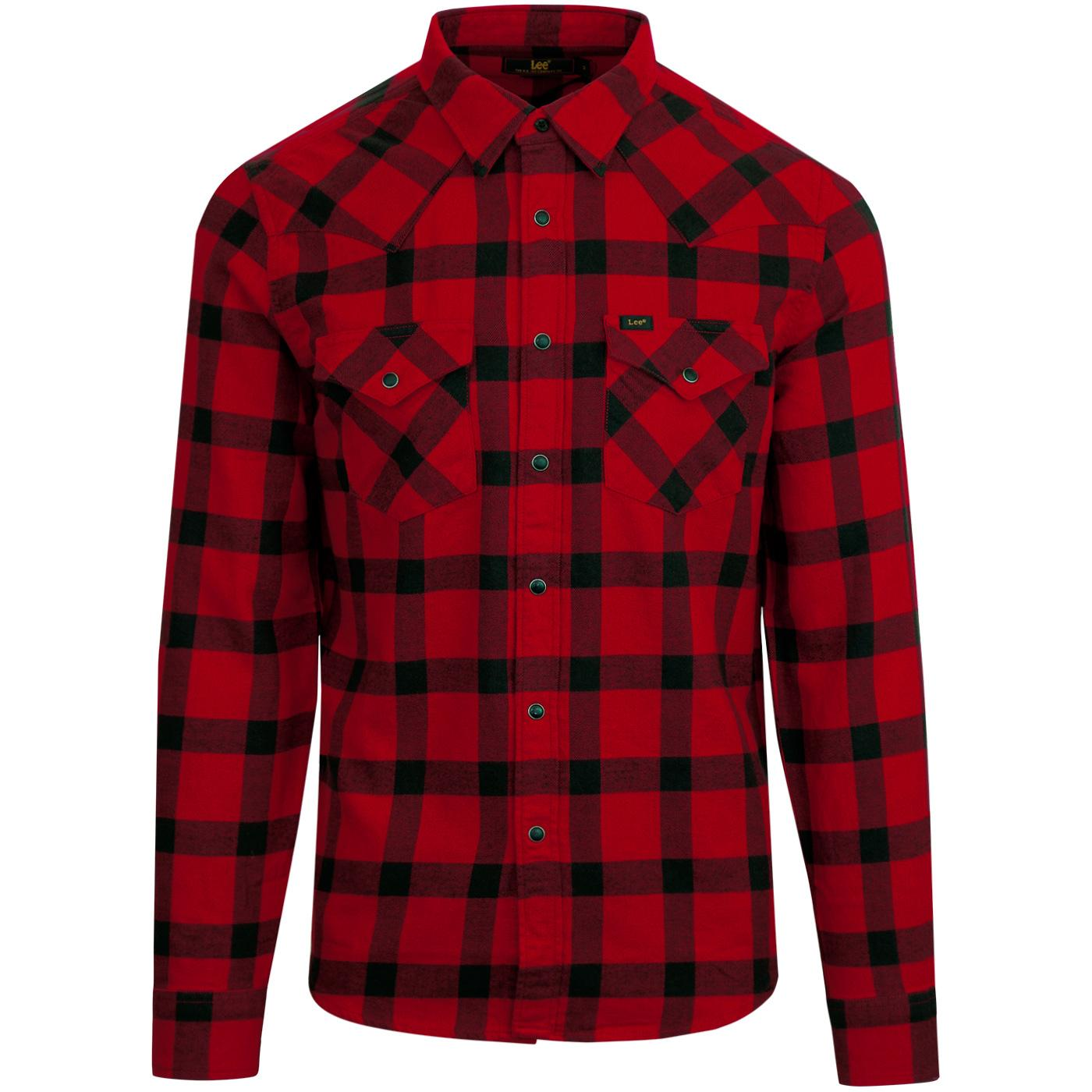 LEE Men's Retro Lumberjack Check Western Shirt RED