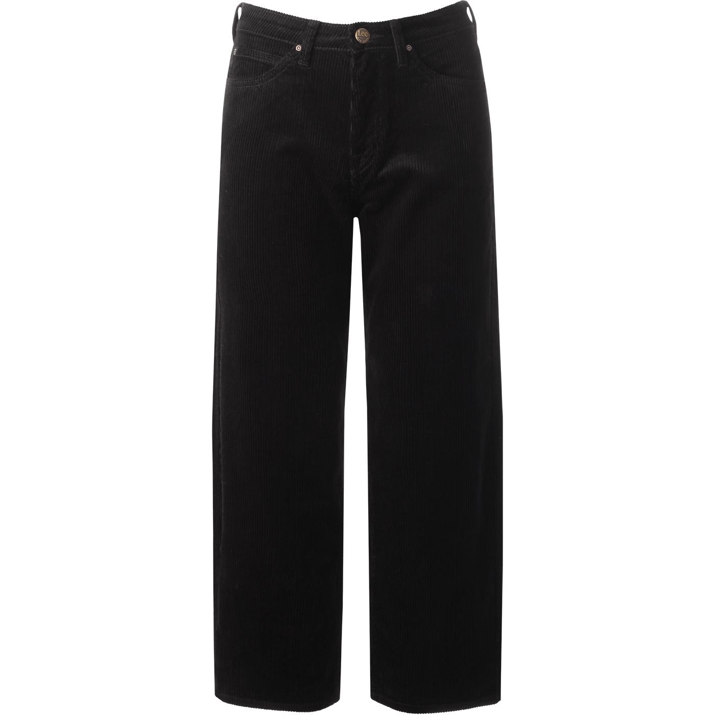 LEE Womens 5 Pocket Cord Wide Leg Trousers (Black)