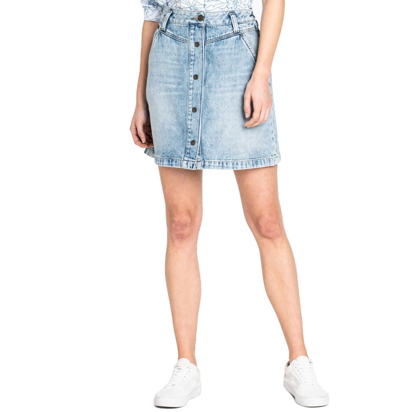 0f50be25845e LEE Women's Retro Denim Button Front A-Line Skirt Get Light