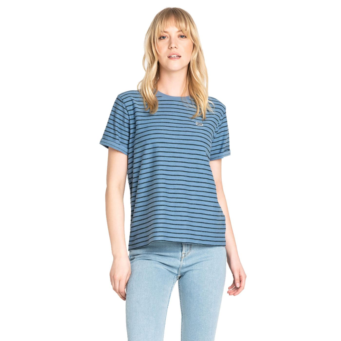 LEE JEANS Womens Relaxed Fit Horizontal Stripe Tee