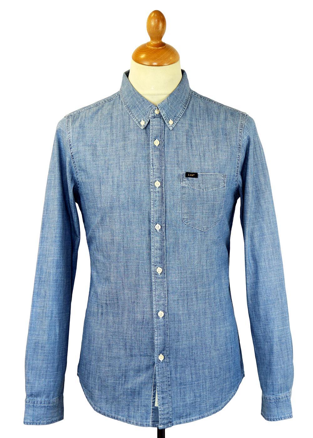 LEE Jeans Retro Mod Chambray Button Down Shirt BB