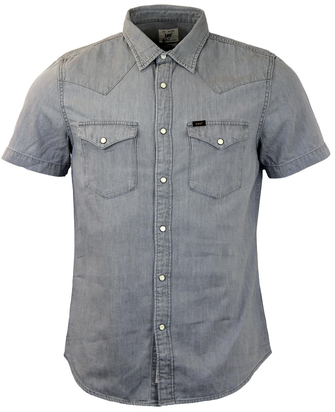 ec8a918997 LEE JEANS Retro 70s Indie Denim SS Western Shirt in Frost Grey