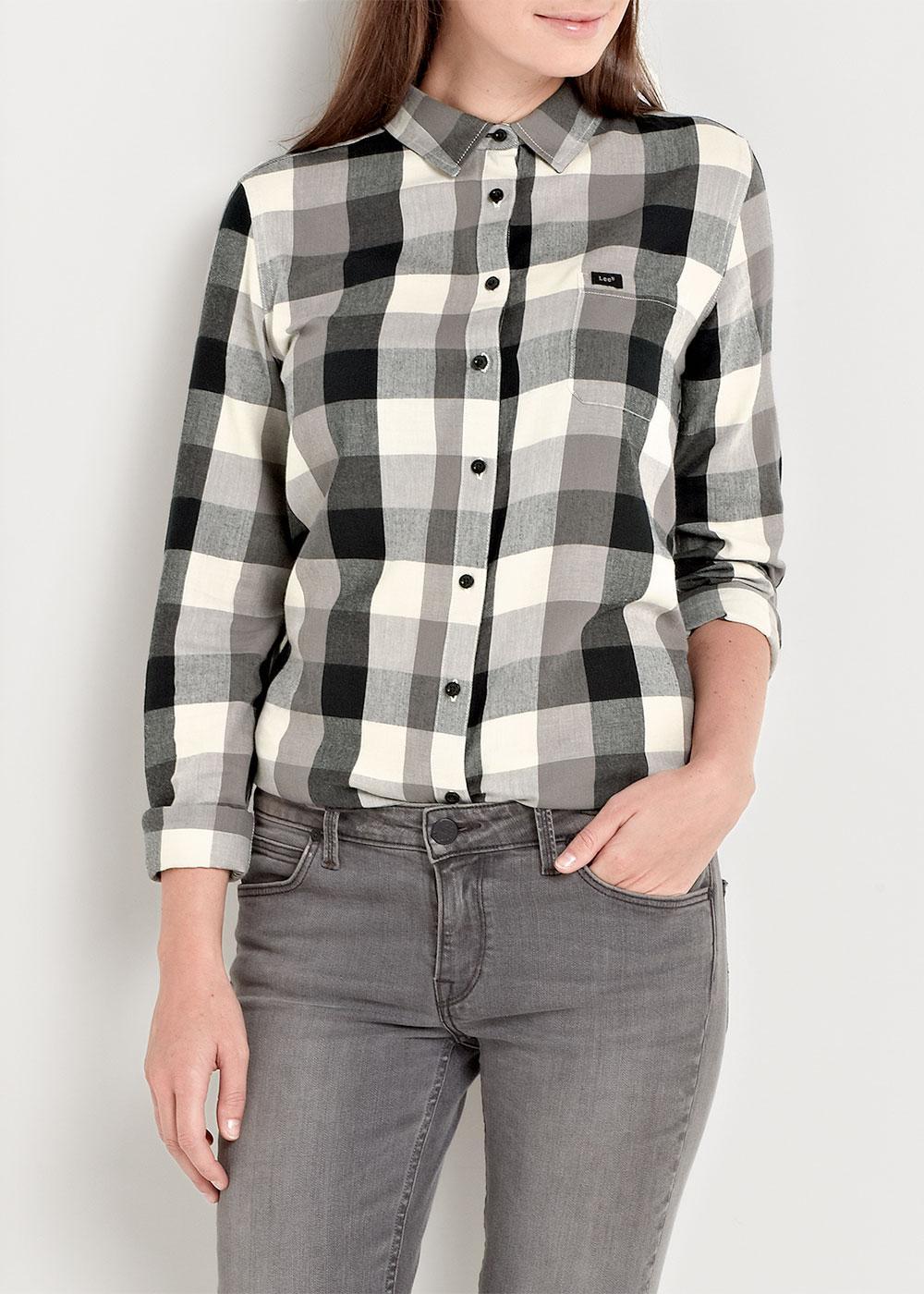 36673fd8f LEE JEANS Retro 70s One Pocket Block Check Shirt Crimson Black