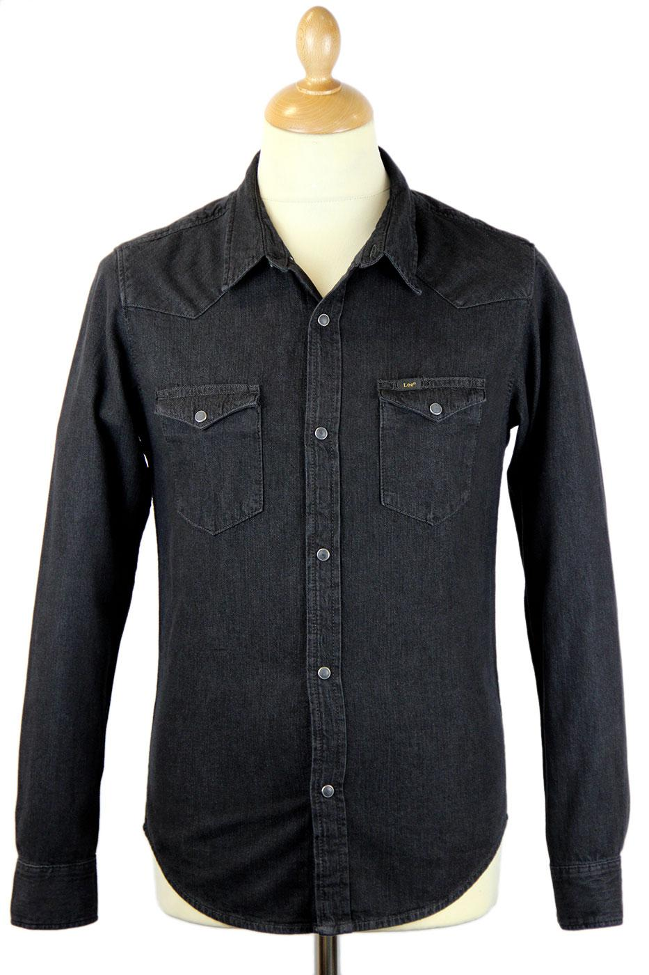 162b37c128 LEE Slim Fit Retro Indie Mod Denim Western Shirt Pitch Black