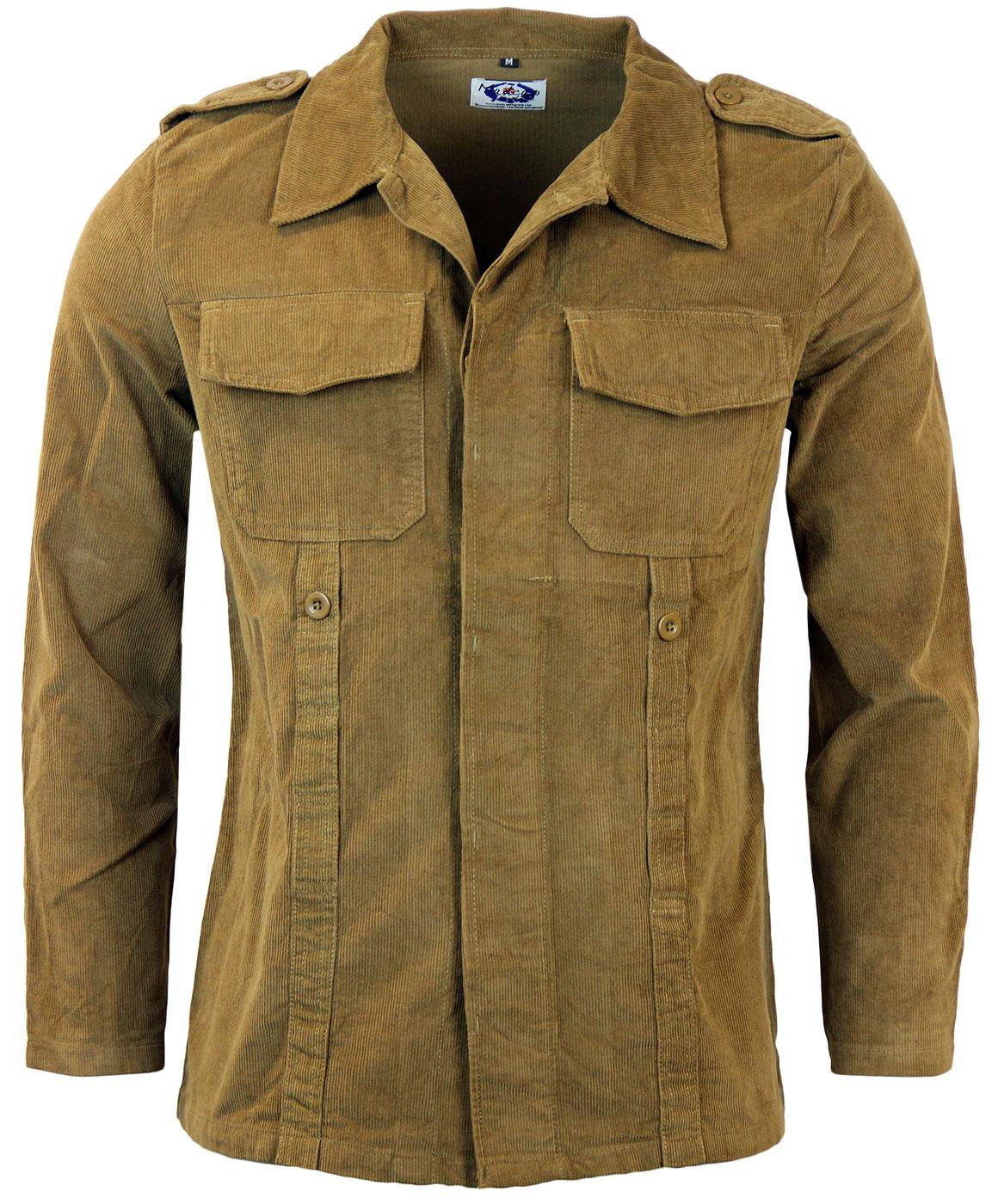 0a0392f1057 Lennon Retro Mod corduroy Military pleated jacket in camel