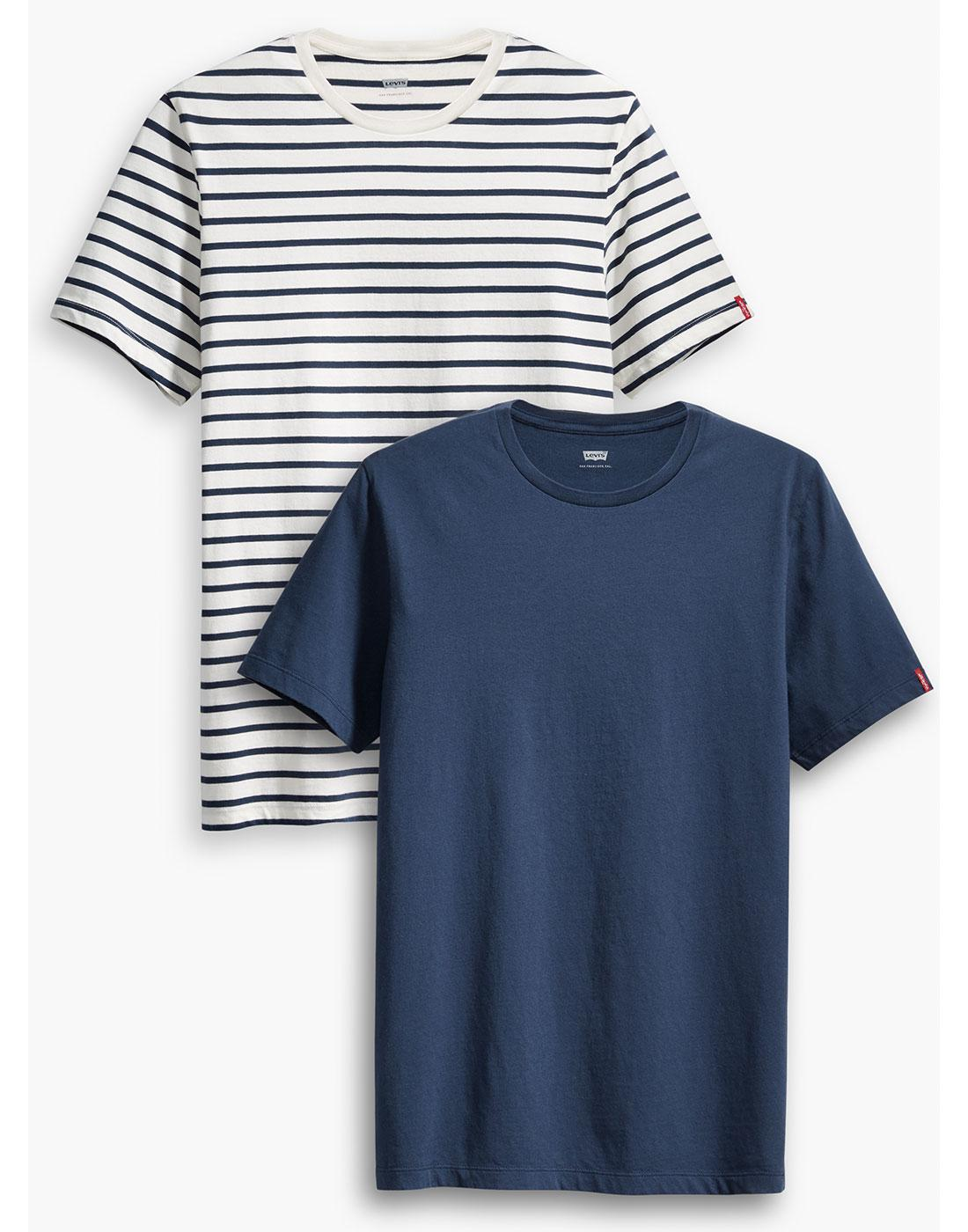 LEVI'S Retro Mod 2 Pack T-Shirt - Stripe/Plain Tee