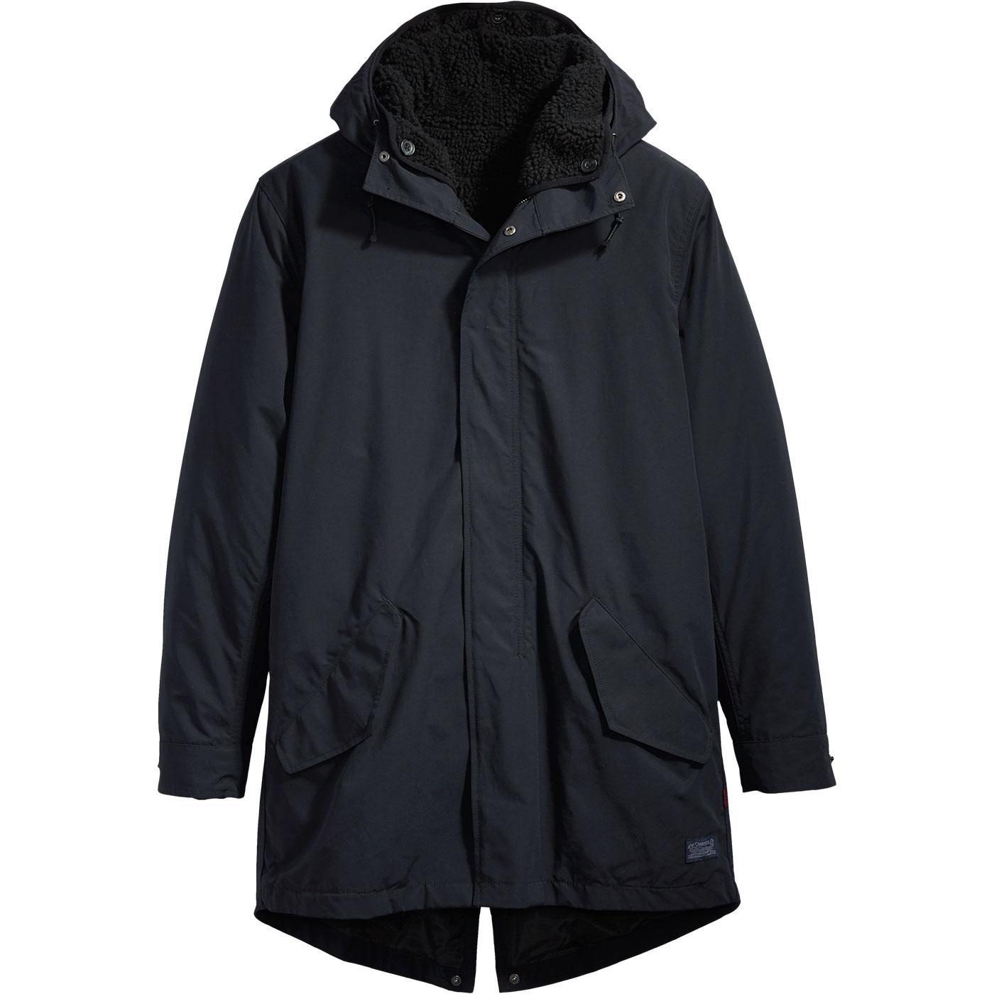LEVI'S Mens Mod 3 in 1 Fishtail Parka Jacket BLACK