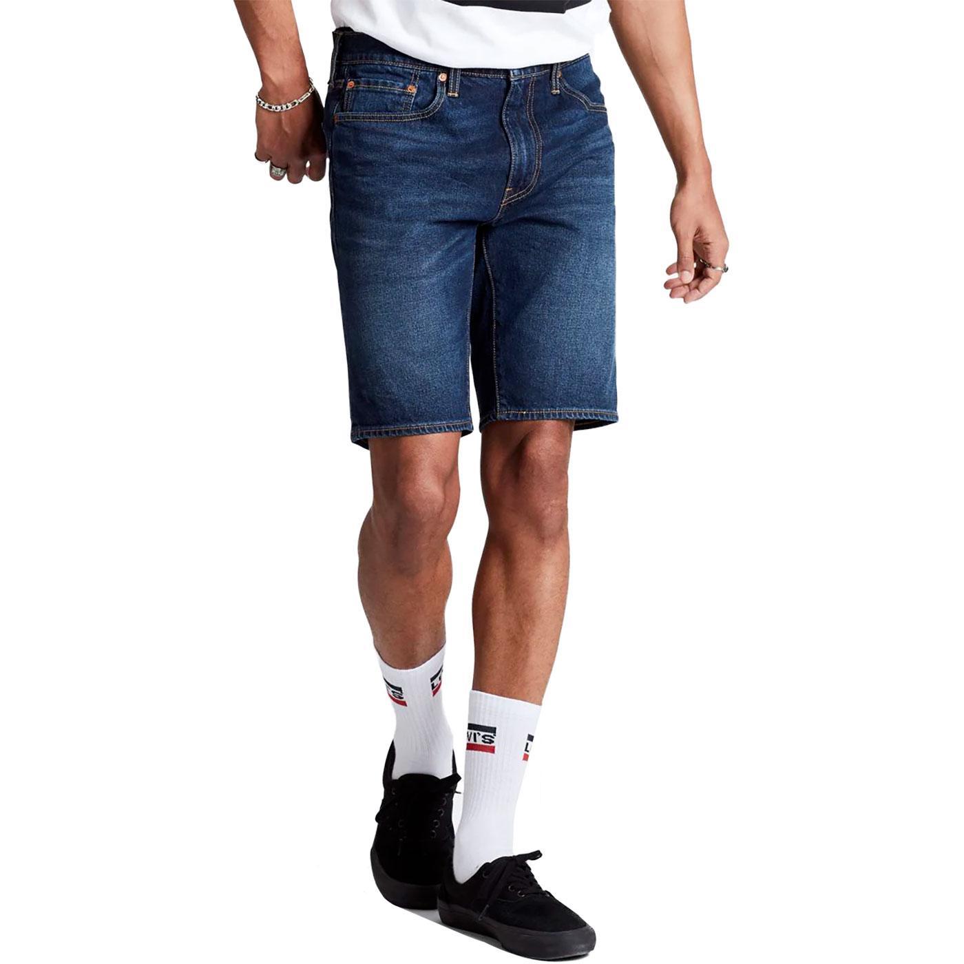 LEVI'S 502 Taper Denim Hemmed Shorts Cheviot Blue