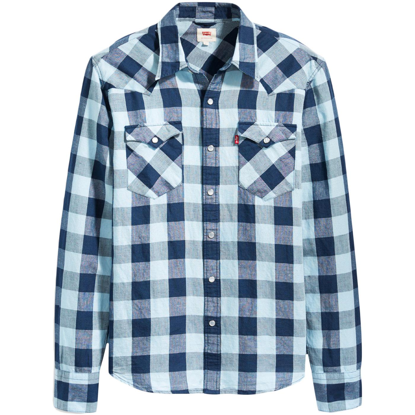 Barstow LEVI'S Retro Linen Check Western Shirt DB