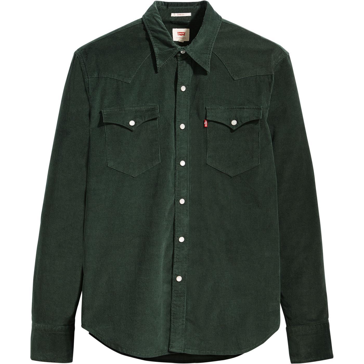LEVI'S Men's Retro 70s Pin Cord Shirt PYTHON GREEN