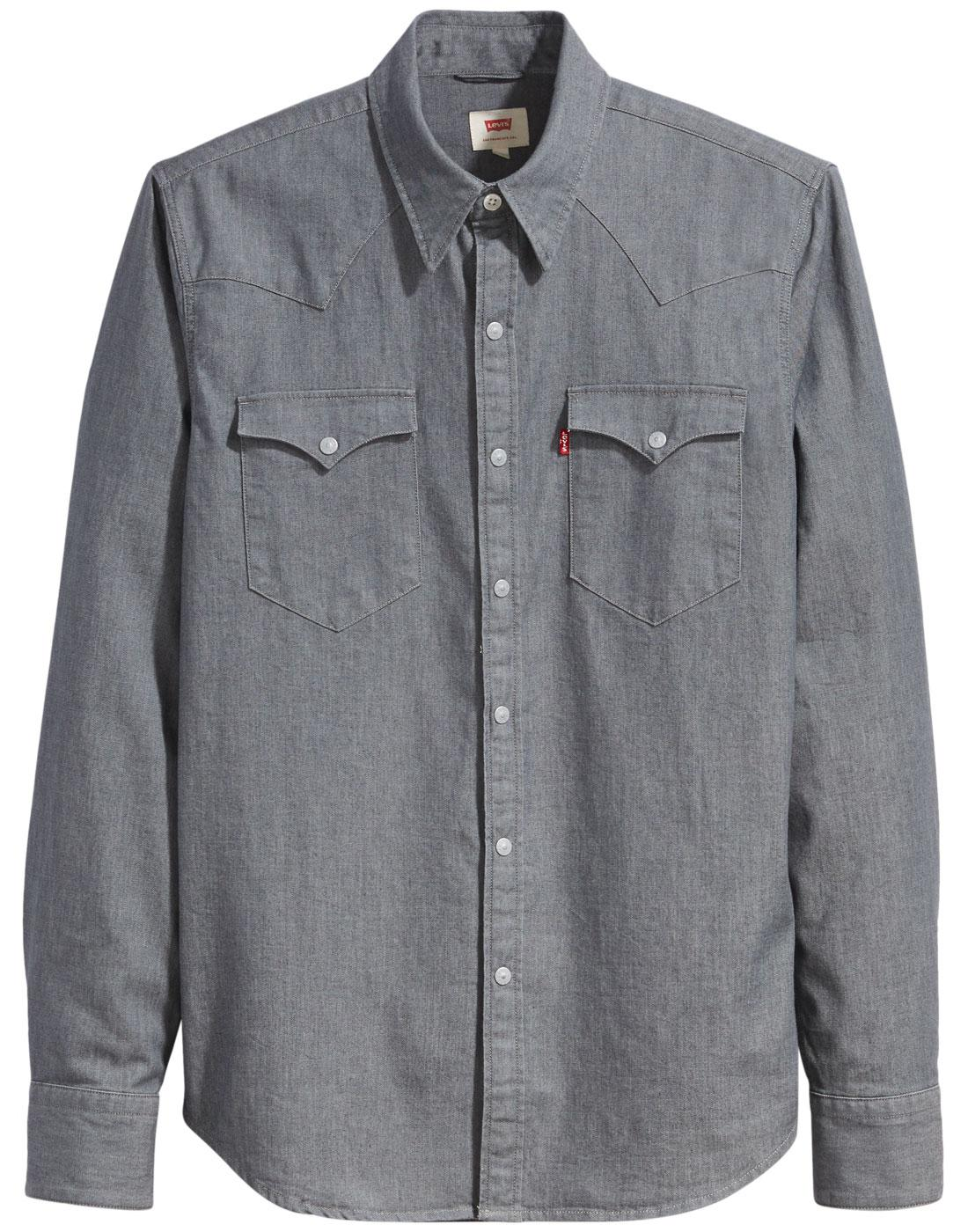 d6541c1fe2 LEVI S Barstow Retro Denim Western Shirt Grey Stretch Rinse