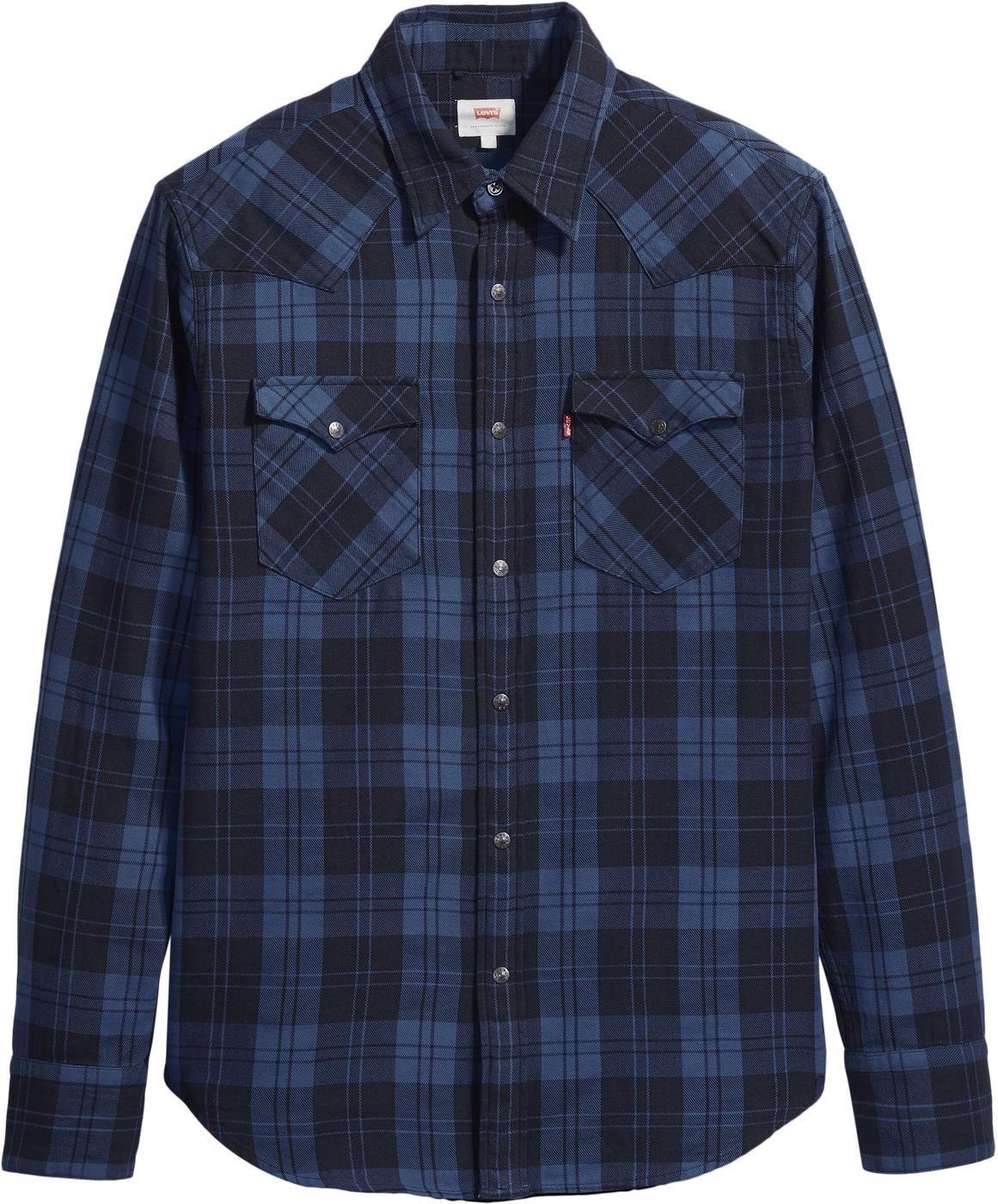 LEVI'S Barstow Retro Mod Check Western Shirt NAVY