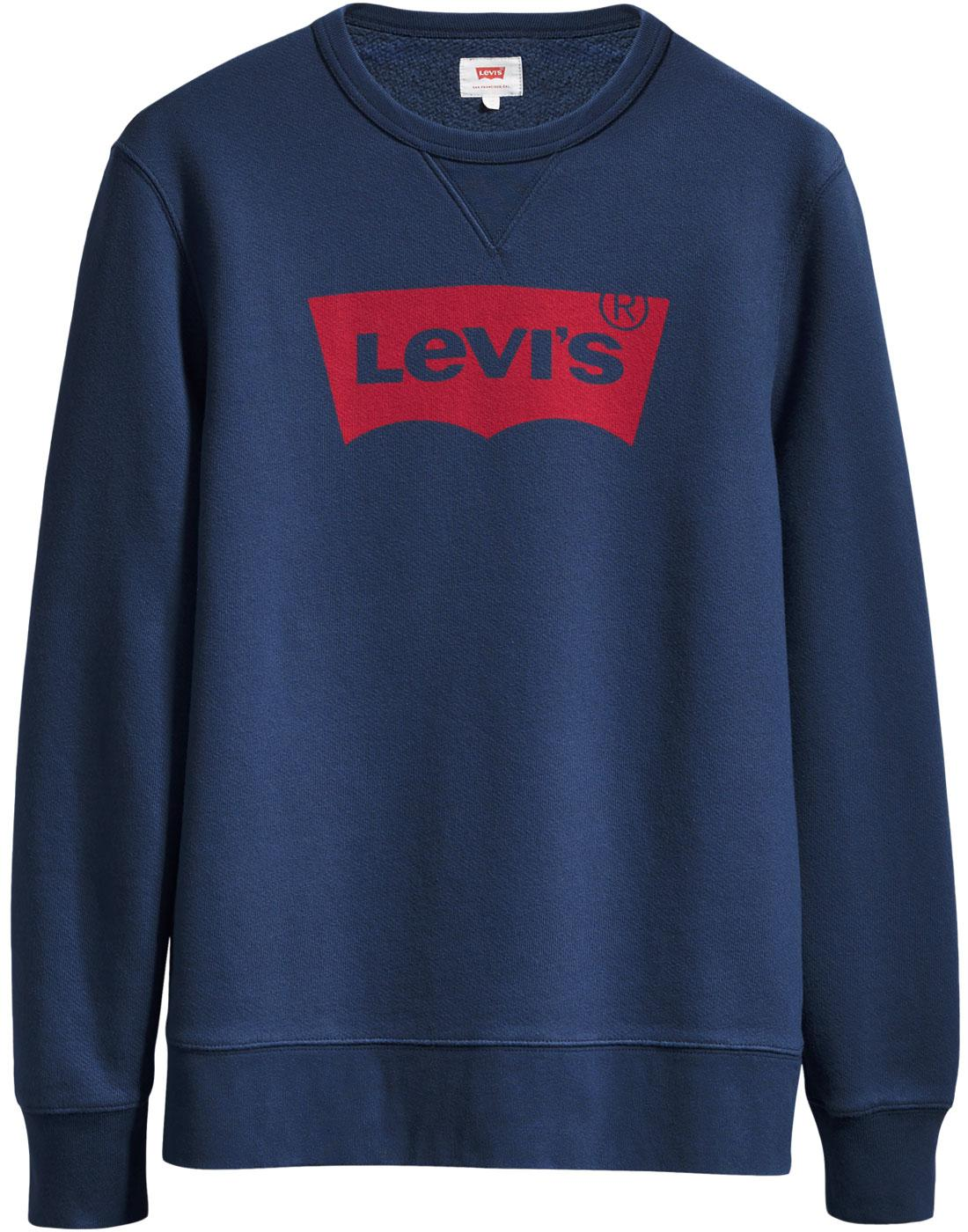 Levis Retro 70s Batwing Graphic Crew Neck Sweatshirt Dress Blues