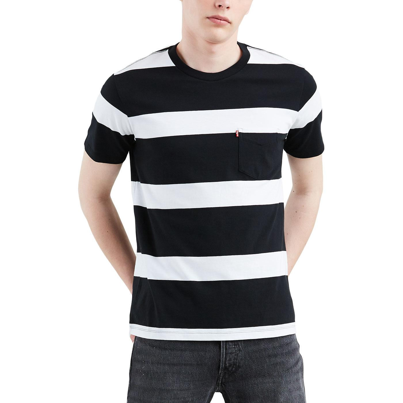 LEVI'S Mod Block Stripe Sunset Pocket Tee (N/W)