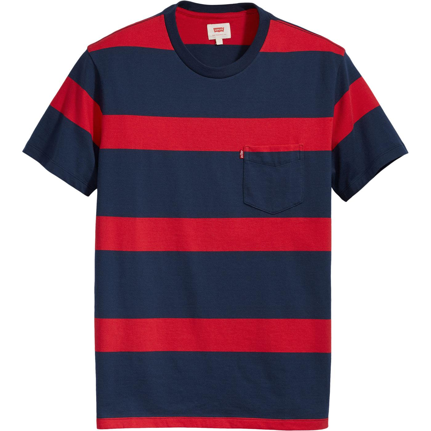 LEVI'S Mod Stripe Sunset Pocket T-shirt (Red/Navy)