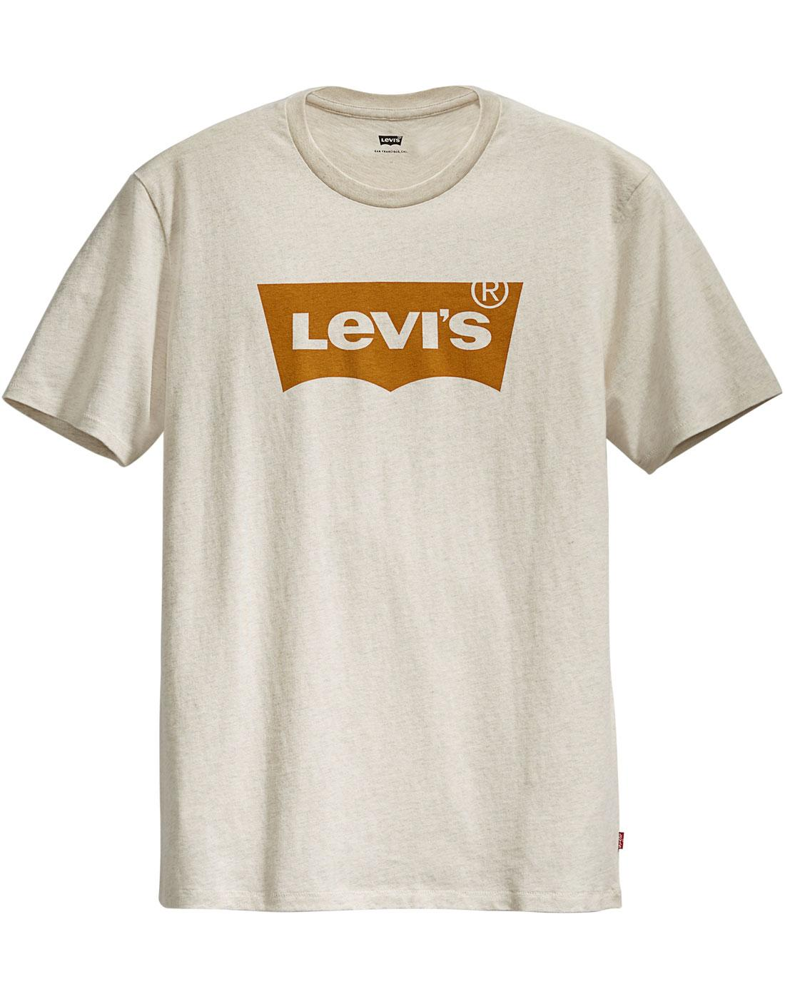 LEVI'S Mens Retro Housemark Batwing Logo Tee CHALK