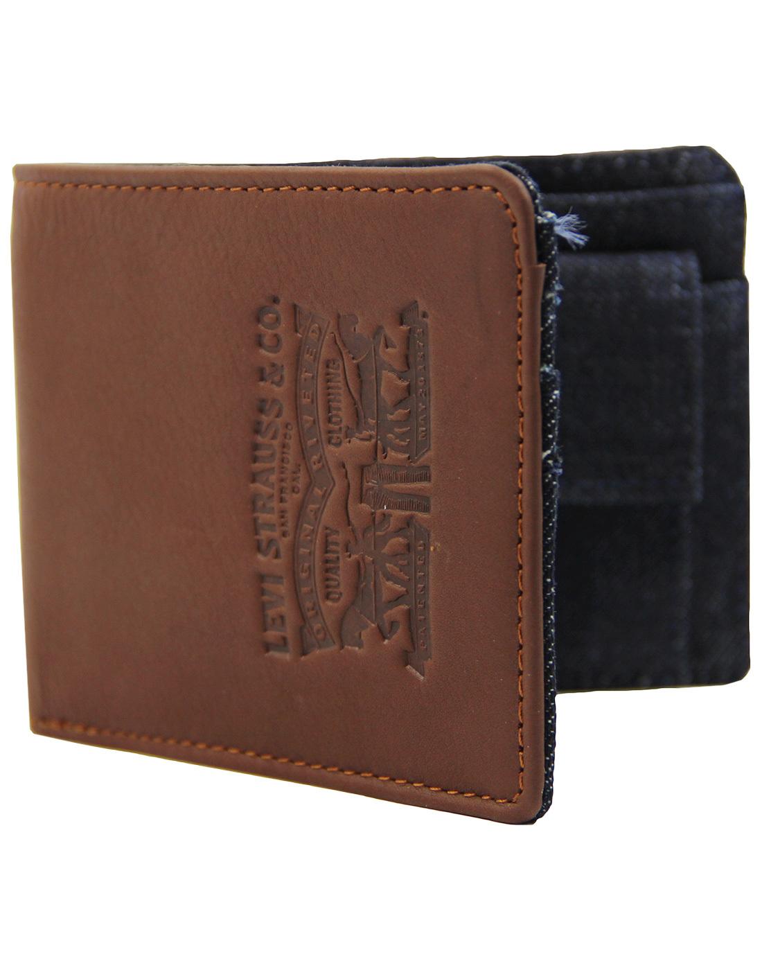9a145c378 LEVI S® Leather   Denim Retro Indie Biford Wallet in Brown Navy