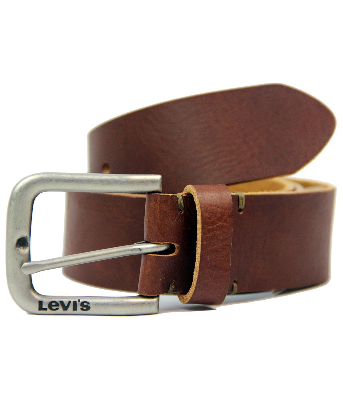 Levi's® Full Grain Leather Side Logo Buckle Belt