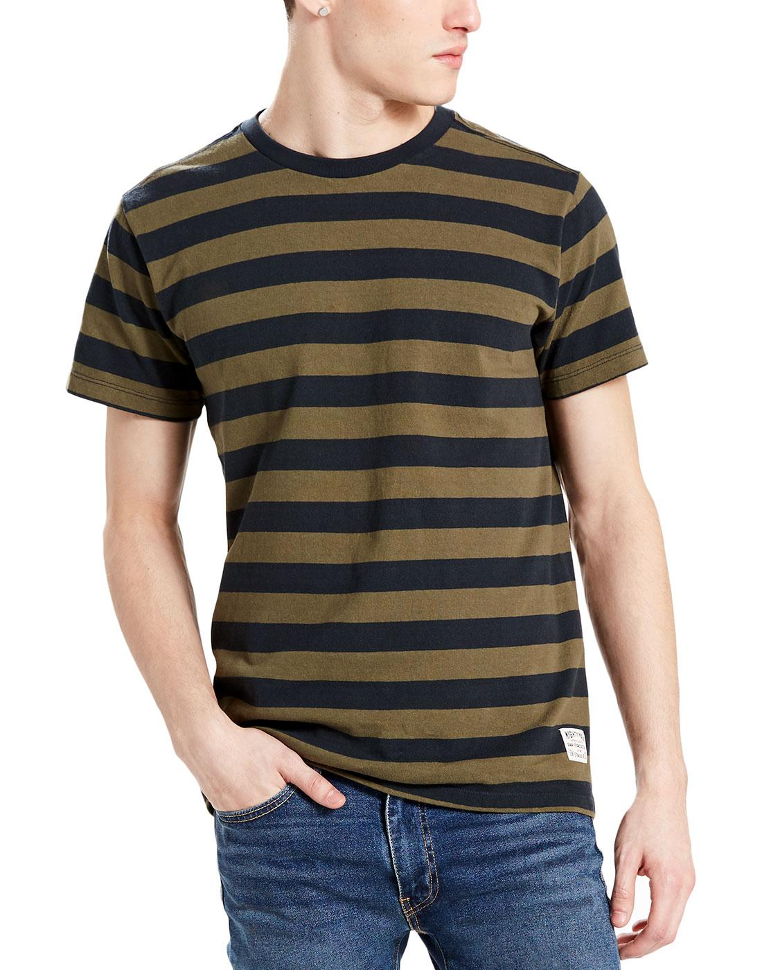 Mighty LEVI'S Retro Mod Bass Stripe T-Shirt OLIVE
