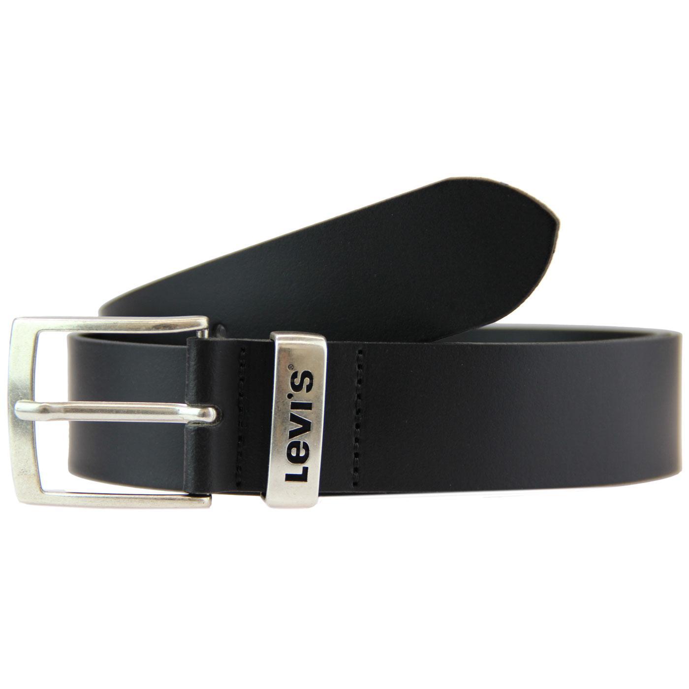 New Ashland LEVI'S Black Leather Logo Keeper Belt