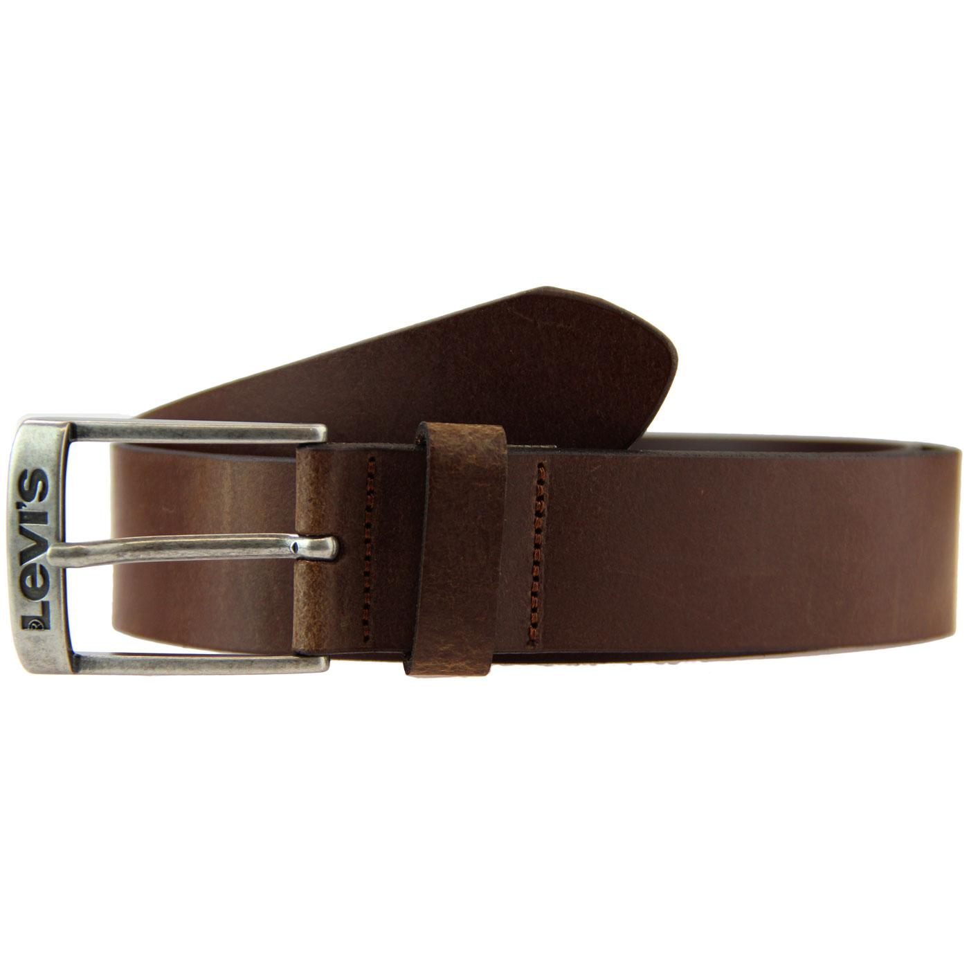 New Duncan LEVI'S Leather Logo Buckle Belt (Brown)