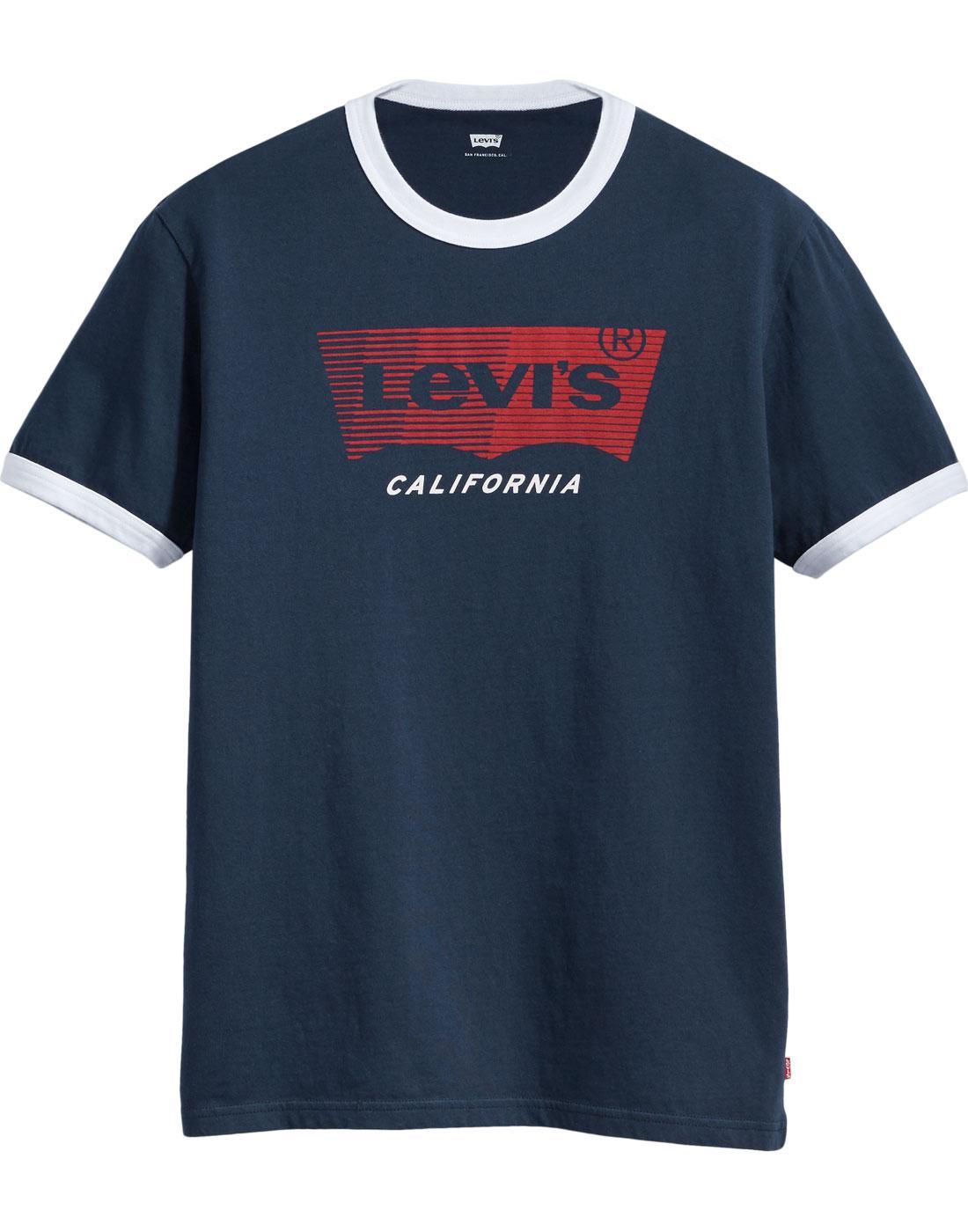 LEVI'S Retro 1970s Housemark Ringer T-Shirt NAVY