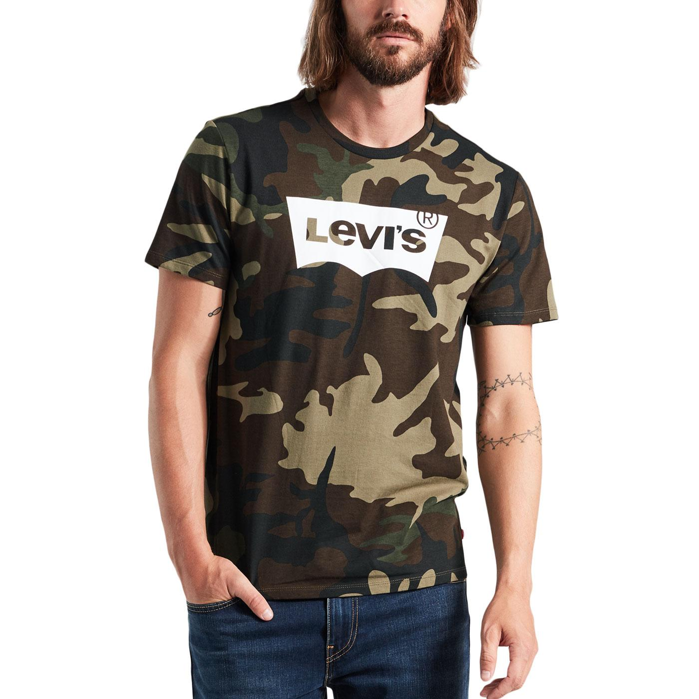 LEVI'S Mens Retro 90s Camo Batwing Logo T-Shirt