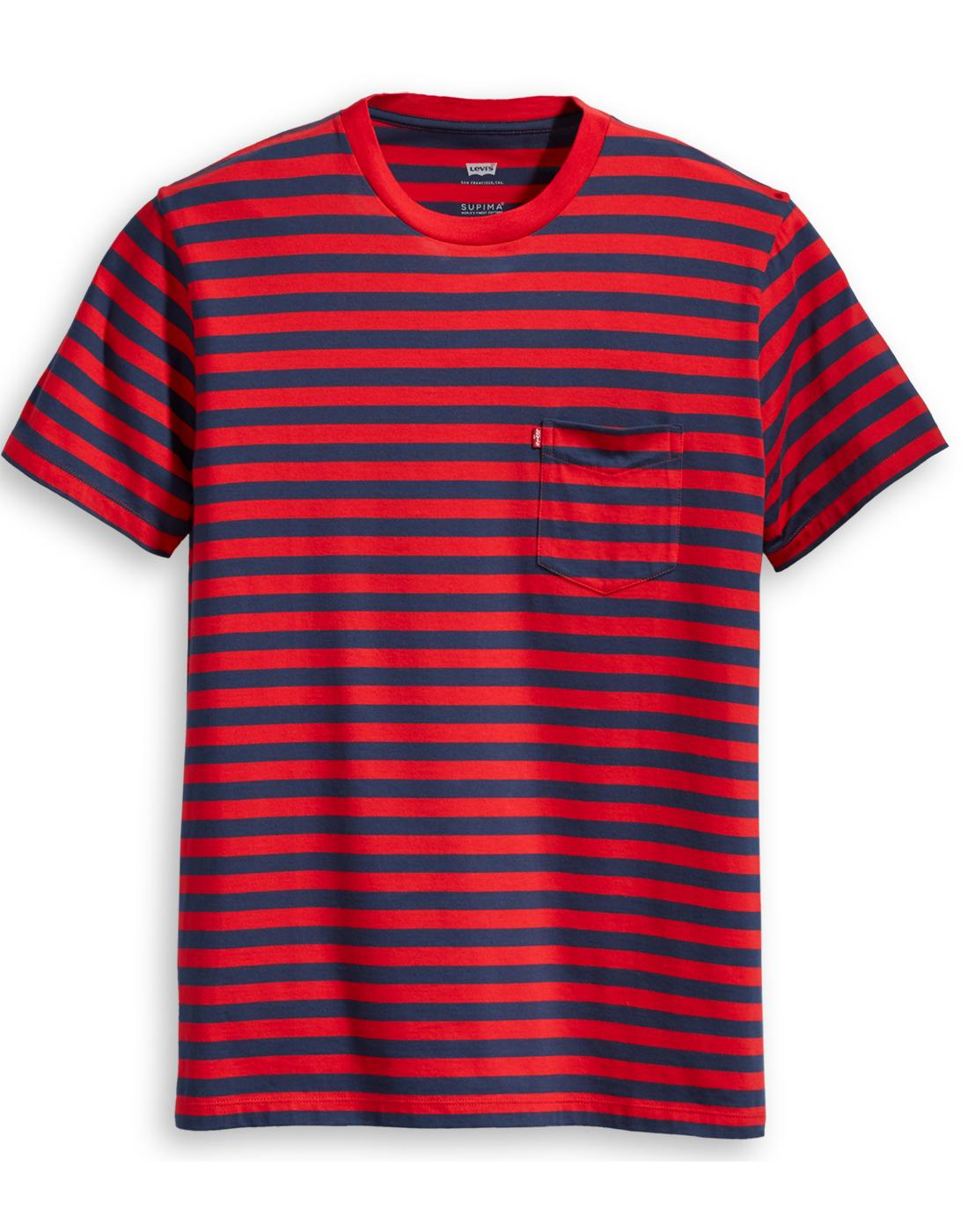 LEVI'S Retro Mod Stripe Sunset Pocket T-shirt R/N
