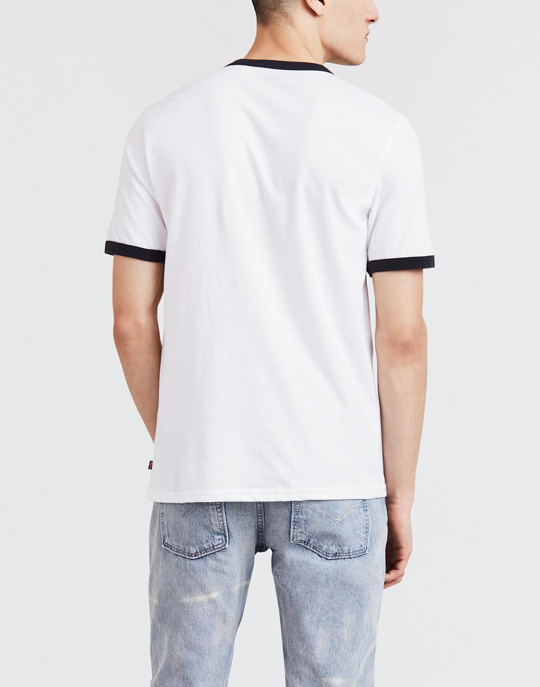 6824aa5dee7 LEVI'S Men's Retro 80s Vintage Sports Ringer T-Shirt in White