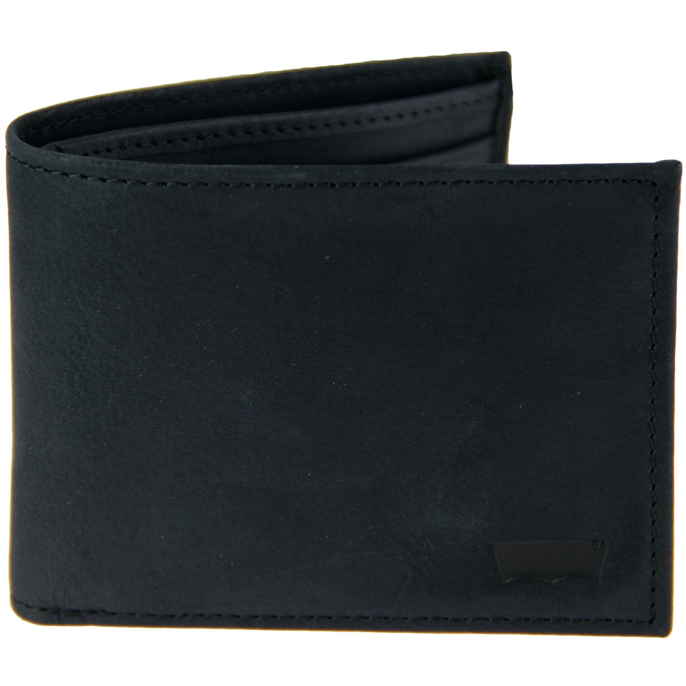 LEVI'S Sueded Leather Batwing Bifold Wallet BLACK
