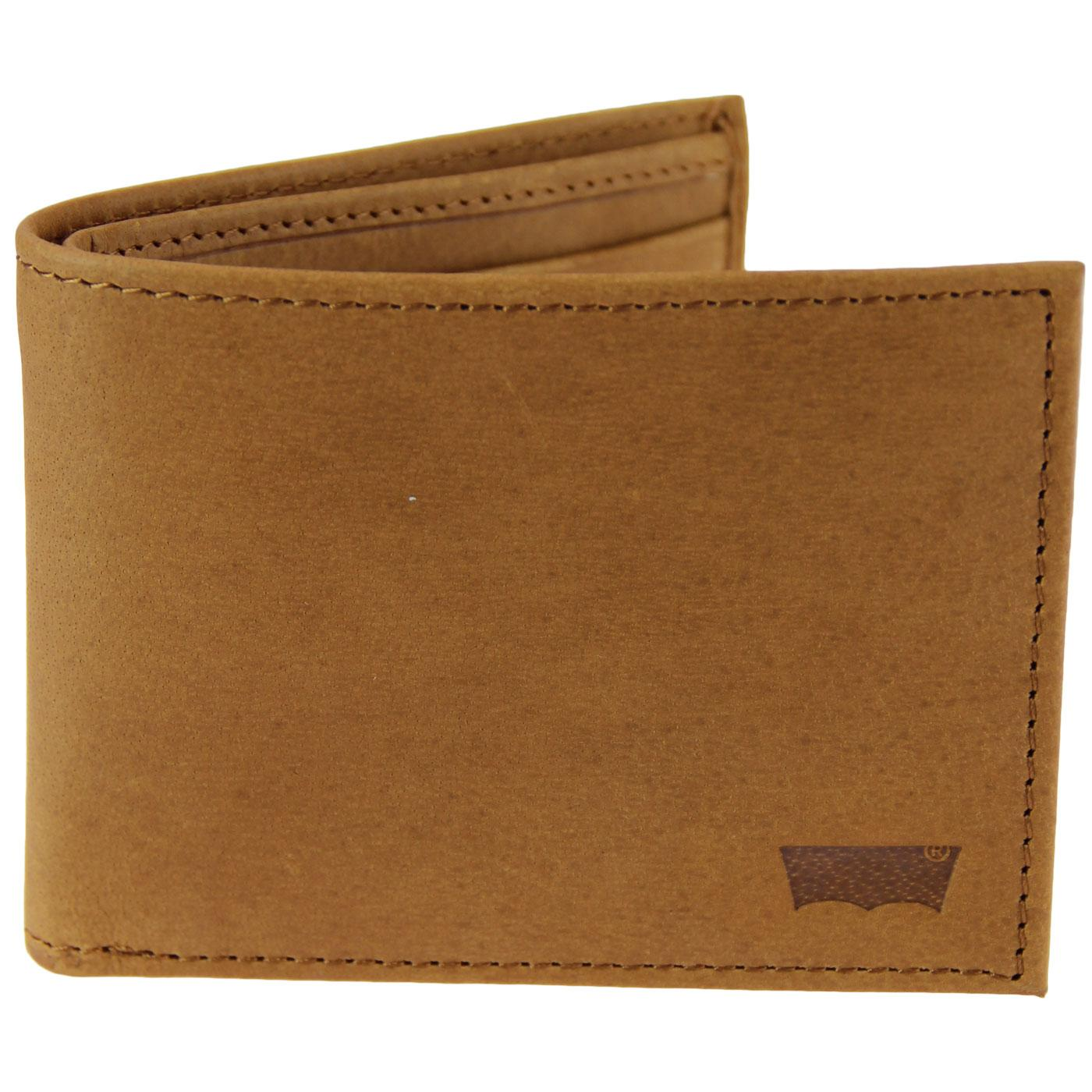 LEVI'S Sueded Leather Batwing Bifold Wallet BROWN