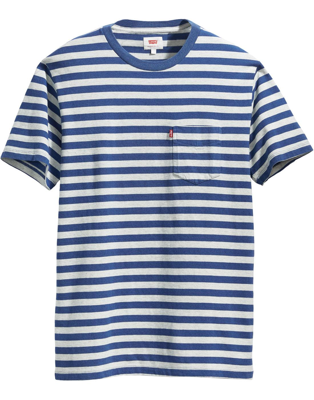LEVI'S Retro Mod Blue Stripe Sunset Pocket T-shirt