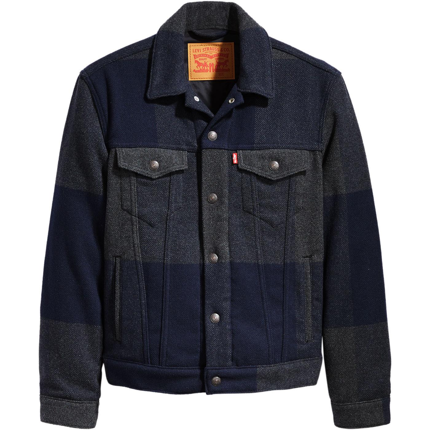 LEVI'S Retro Mod Wool Check Trucker Jacket GELADA