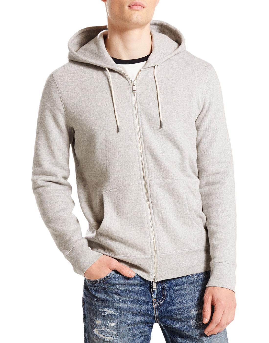 LEVI'S Men's Retro 70s Original Zip Up Hoodie GREY