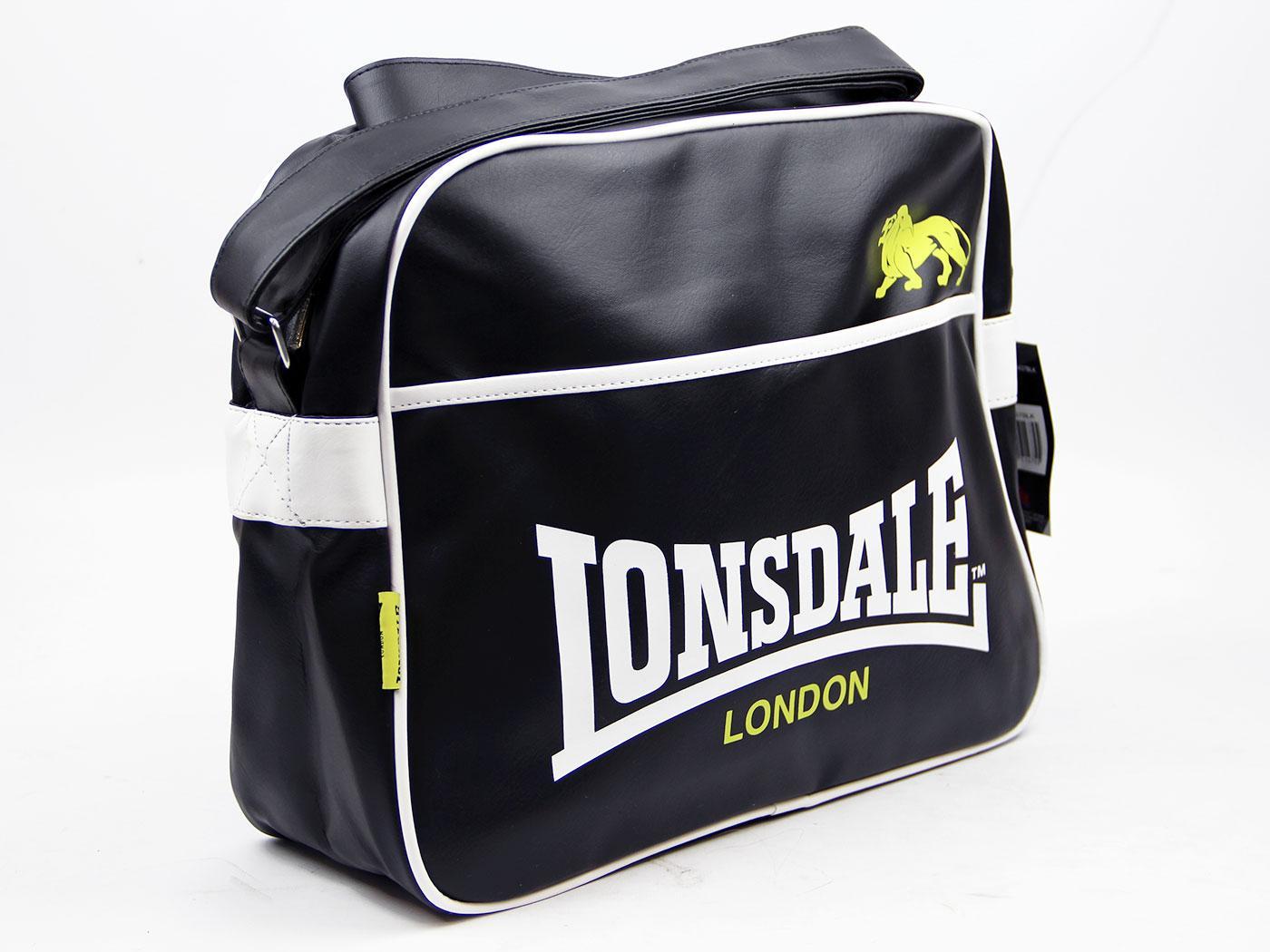 fafdf3f9d4c9 LONSDALE Retro Mod Classic Logo Shoulder Bag Black