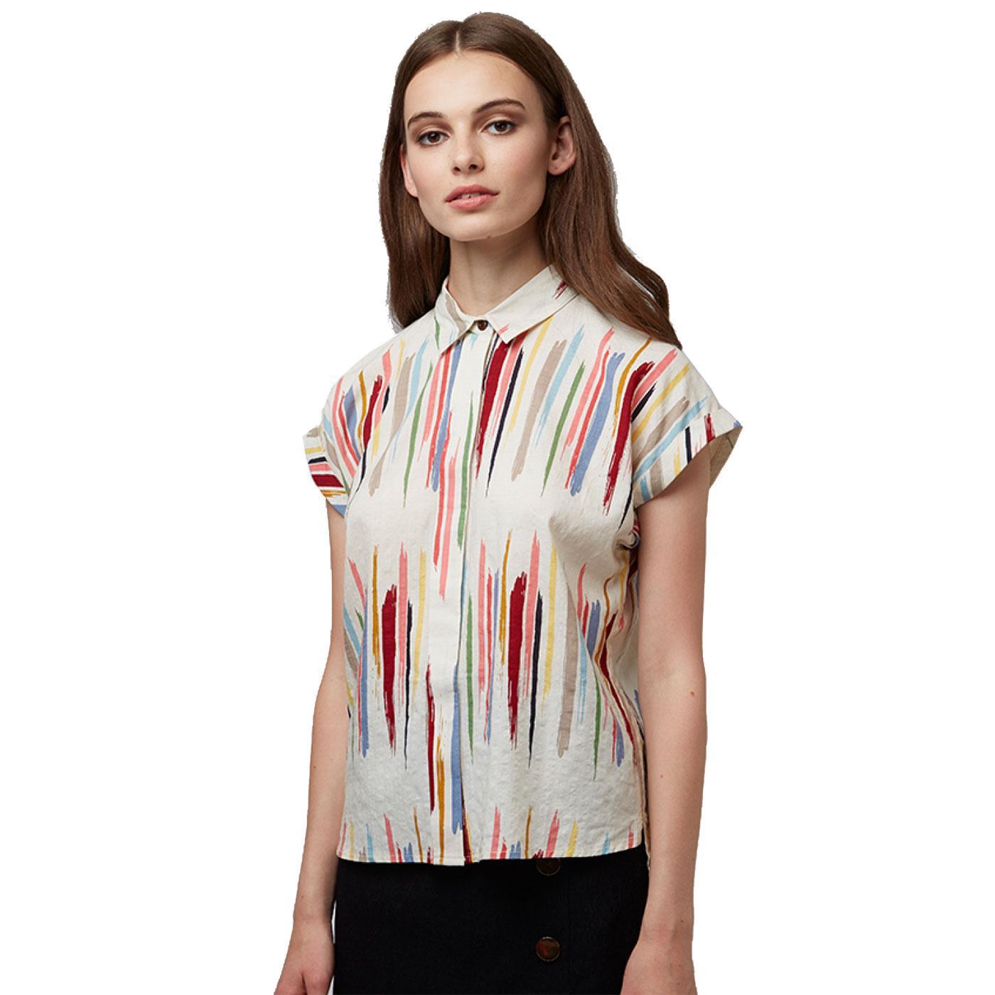 Abinaya LOUCHE Retro Brush Stroke Stripe S/S Shirt